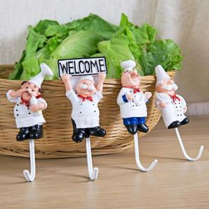 Stainless steel hook cartoon cooking chef cute hook kitchen bathroom towel wall hook decoration paste storage rack