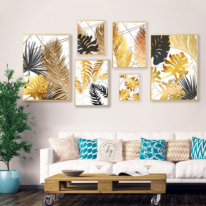 Tropical Plant Golden Leaf Abstract Poster Nordic Wall Art Canvas Botanical Print Painting Modern Home Room Decoration Picture