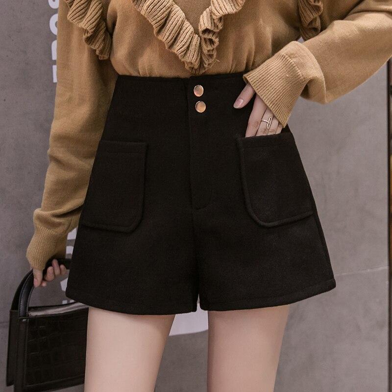 2019 Autumn New Woolen Shorts Women Korean Style High Waist Buttons Pockets Wool Shorts Winter Casual Female Boots Shorts