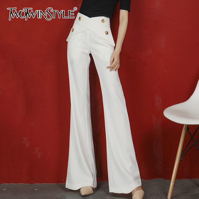 TWOTWINSTYLE Elegant Chiffon Women Full Length Pants High Waist Irregular Loose Flare Long Pant For Female Fashion Clothing Tide