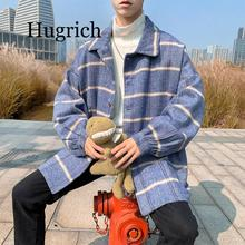 2020 Autumn Woolen Jacket Men's Fashion Retro Casual Tartan Woolen Coat Man Streetwear Wild Loose Male Jackets Men Outwear M-2XL
