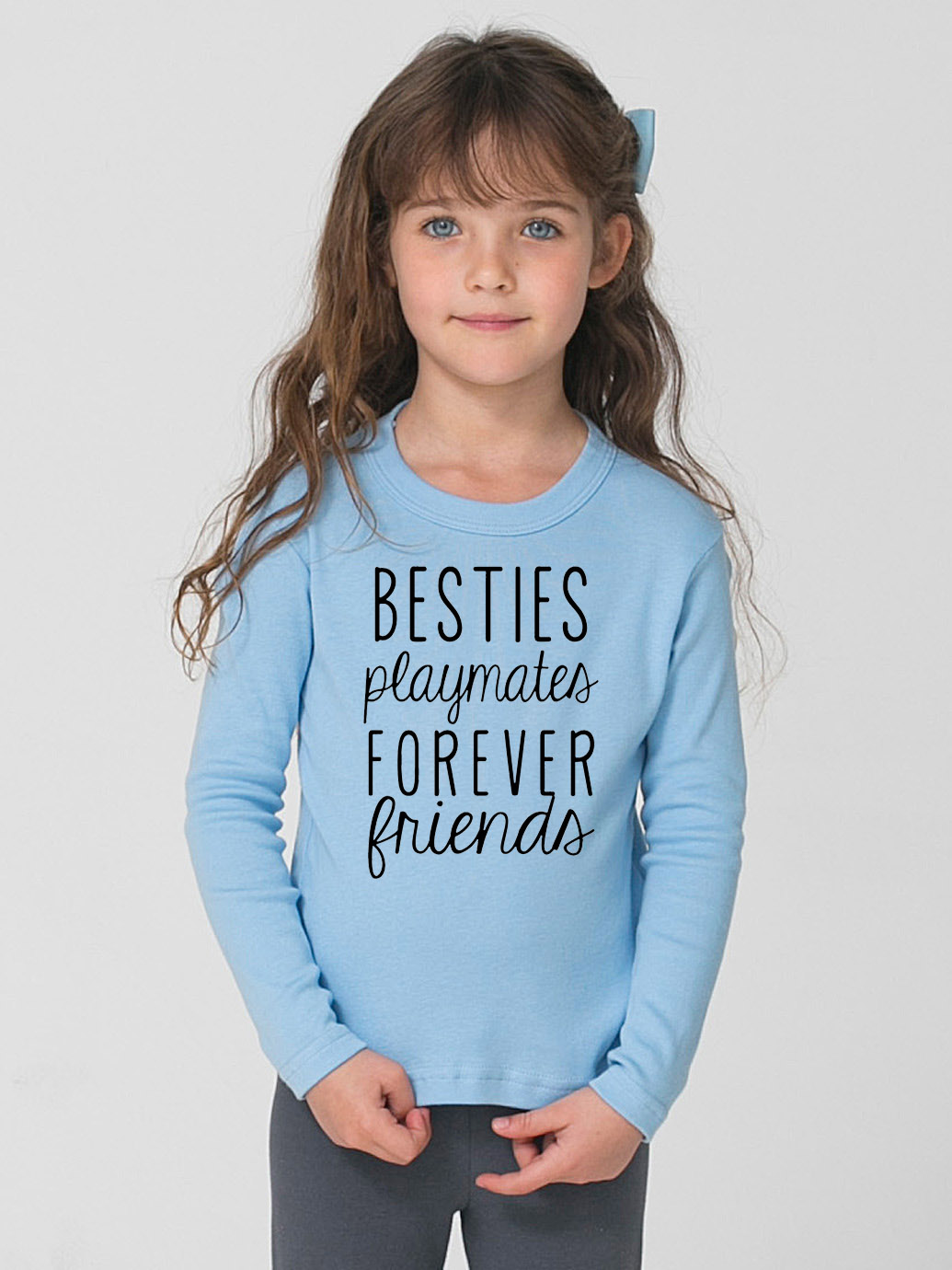 Funny <font><b>Kids</b></font> Long Sleeve T-<font><b>shirt</b></font> Bestie Playmates Forever <font><b>Friends</b></font> Print Children Boys Girls <font><b>Best</b></font> <font><b>Friend</b></font> Tee <font><b>Shirt</b></font> Casual Baby Tops image