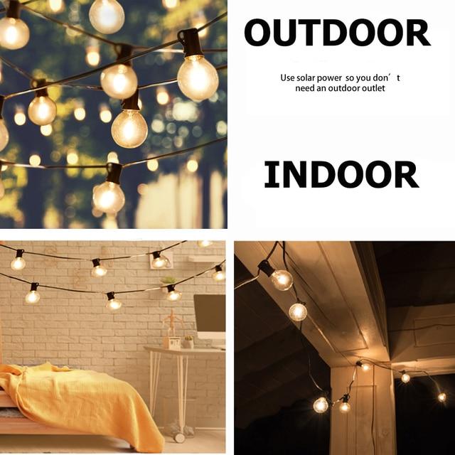 Solar Globe Bulb String Lights Retro Edison 18/25ft LED Garland Umbrella Solar Lights Waterproof for Garden Party Lighting 1