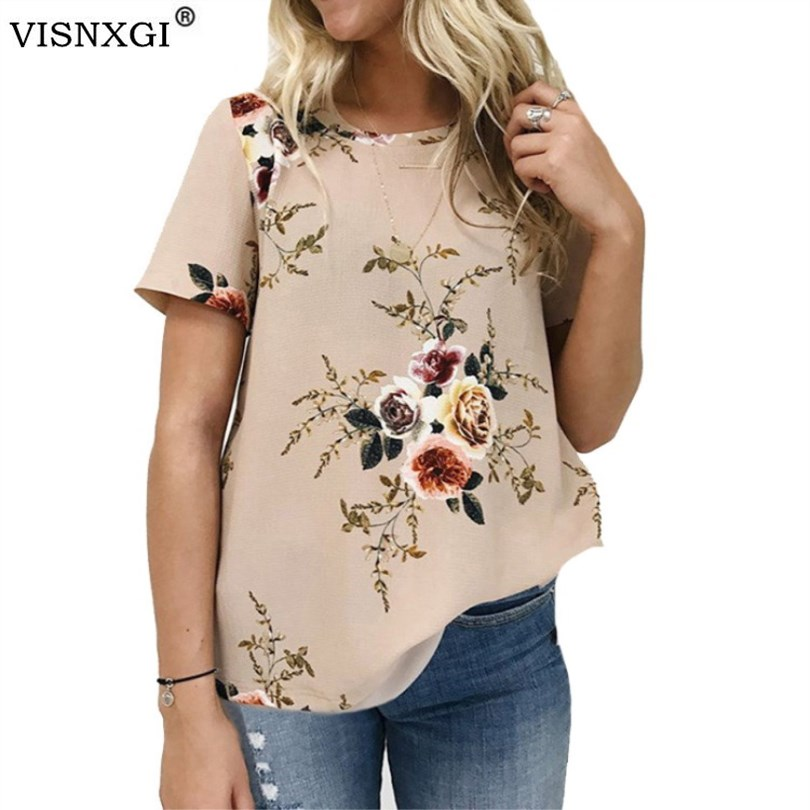 VISNXGI Summer Women Blouses Chiffon Print Blouse Short Sleeve Shirts Casual Ladies Clothing Female Blusas Floral Print Tops