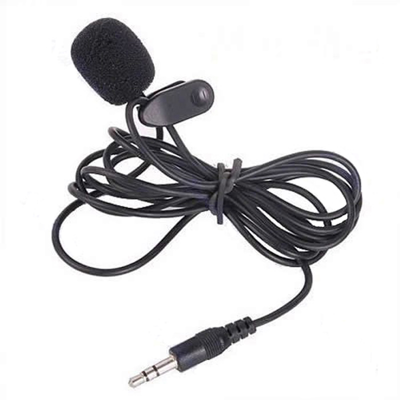 Good Quality 3.5mm Mini Studio Speech Mic Microphone Clip On Lapel For PC Notebook 1.5M