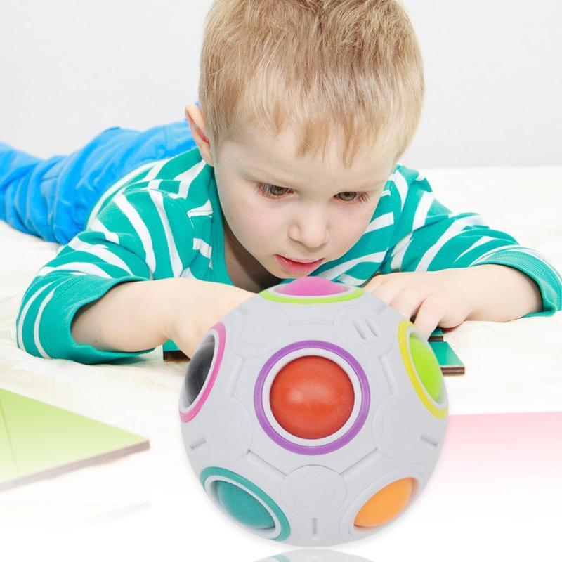 Creative Mini Magic Rainbow Puzzle Ball Children Education Finger Cube Toy Practice Brain Fantastic Interactive Toy Gift