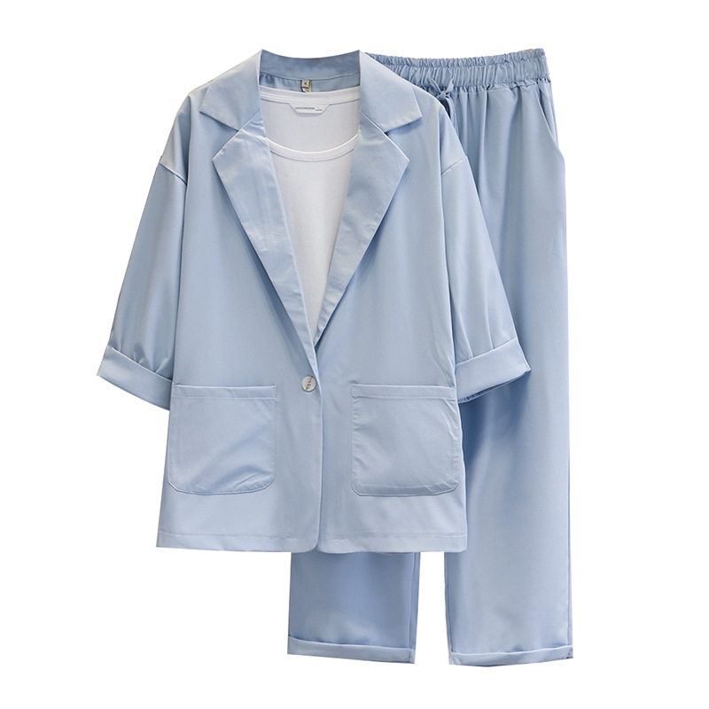 Women Spring Summer Pants Suits Office Lady Two-Piece Set Female Lapel Chiffon Blazer Jacket+ Trousers Business Slim Fit A31-087