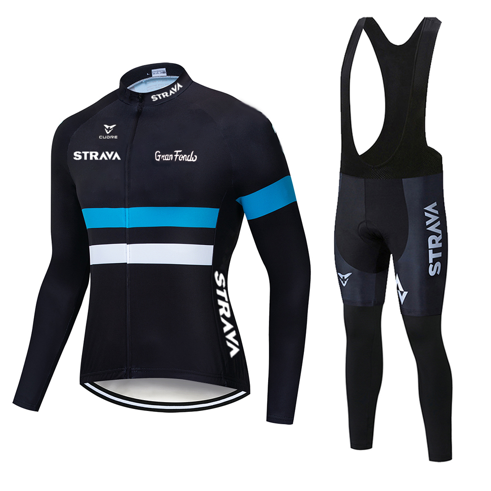 autumn Cycling Jersey Set 2020 STRAVA Long Sleeve Mountain Bike Clothes Wear Men Racing Bicycle Clothing Ropa Maillot Ciclismo
