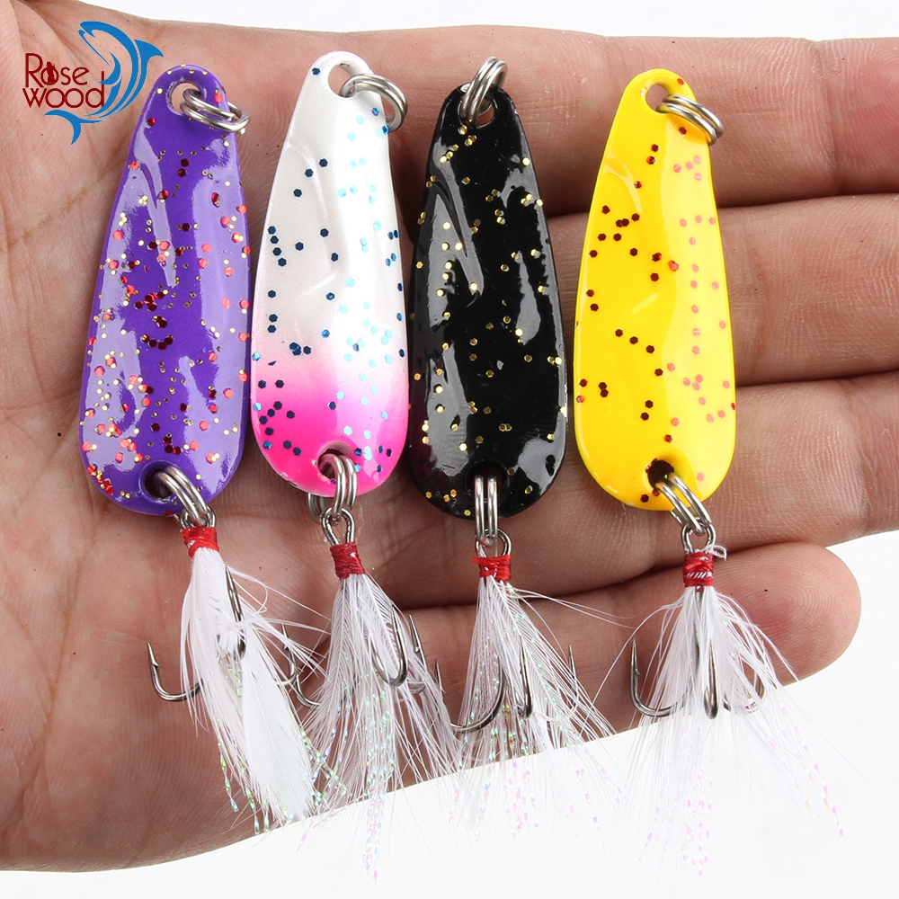 RoseWood 4pcs Spinner Fishing Lures Wobbler Fishing Crankbaits Jig Metal Sequin Trout Spoon With Feather Hook For Carp Fishing