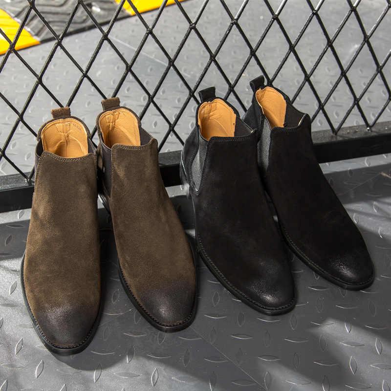Mannen Chelsea Laarzen Enkel Koe Suede Lederen schoenen Mannen Laarzen Herfst Winter Laarzen ST403