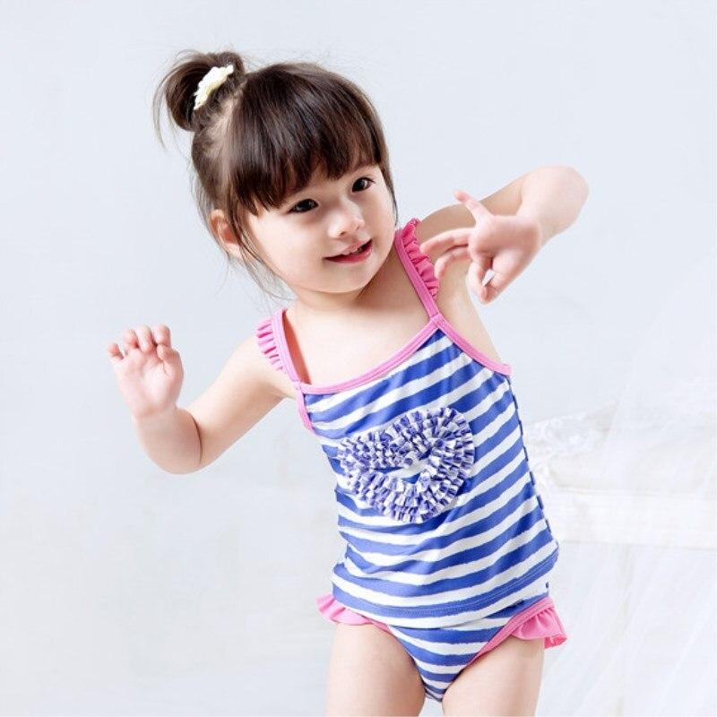2019 Hot Selling KID'S Swimwear Infants Small Children GIRL'S Princess Purple Stripes Heart Split Type Swimwear Hot Springs