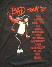 Free Shipping New Xl Michael Jackson Bad Tour 1988 Front Back Gray Music(China)
