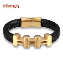 MKENDN Punk Gold Geometric Pattern Stainless Steel Accessories Men's Leather Black Wrap Bracelet Bangle Handmade Gift Jewelry(China)