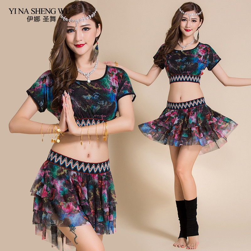 New Female Belly Clothing For Belly Dancing Sexy Circular Collar Of The Top Small Skirt Dancer Practice Bellydance Costume Set