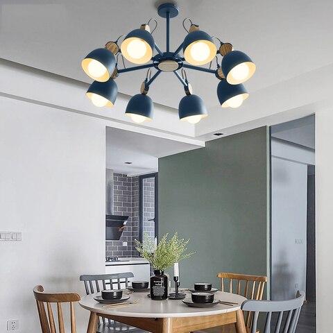 nordic designer colorido led lustres de madeira macaron arte decoracao lustre iluminacao sala estar cozinha