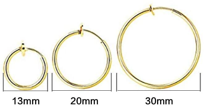 Lvcky 6 Pairs Fake Earrings Hoop Non Pierced Nose Ring Spring Hoop