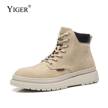 YIGER New Men martins boots Desert boots genuine leather casual autumn winter Trend thick boots lace-up male tooling shoes  0380 цена 2017
