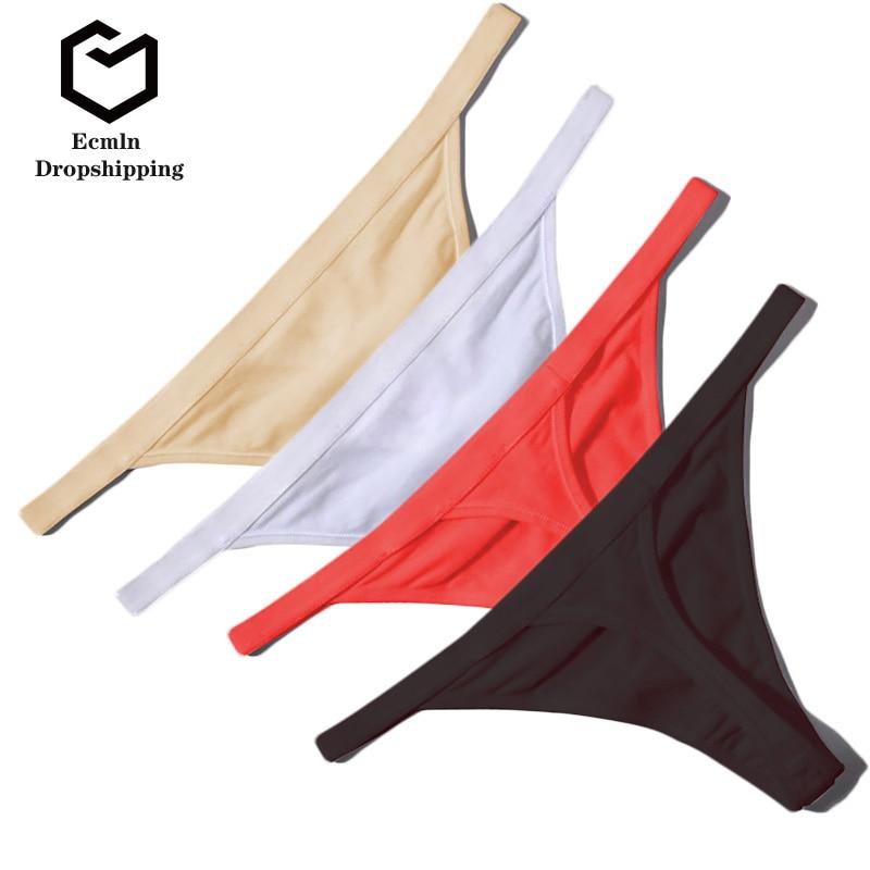 Ecmln Dropshipping Hot Sale Sexy Women Cotton G String Thongs Low Waist Sexy Panties Ladies' Seamless Underwear Lingerie 1/2 Pcs