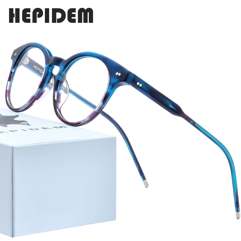 HEPIDEM Acetate Optical Glasses Frame Women High Quality Vintage Round Eyeglasses Men Myopia Prescription Spectacle Eyewear 9127