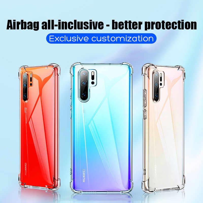 Transparente airbag caso protetor para hawei huawei p30 pro p 30 lite luz 30 lite 30pro tpu macio silicone à prova de choque capa traseira