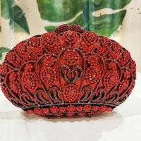 Luxury Red Color Crystal Metal Clutches Women Bag Hard Case Bridal Evening Clutch Evening Bag Diamonds Wedding Rhinestone Purse