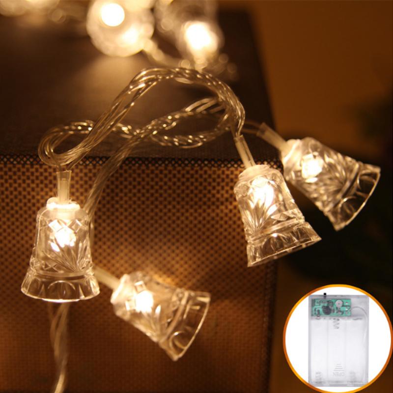 40 LED Bell String Lights 5M Christmas Tree Decoration Fairy Lights AA Battery Powered Festivals Lantern For Wedding Party Gift