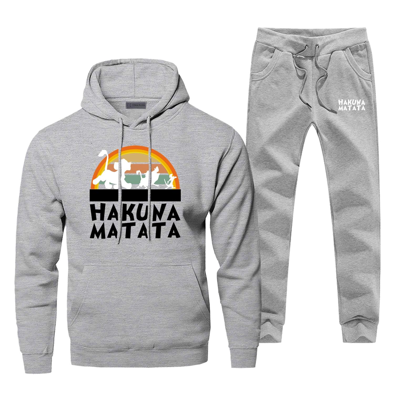 Hakuna Matata Cartoon Movie Hoodies The Lion King Men Hoodies Sweatshirts Pants Sets Hoodie Suit Track 2 PCS Hoody Pullover Set