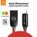 Mcdodo USB кабель для зарядного устройства LED 2A для iPhone X XR XS Max 8 7 6s Plus для кабель Lightning для быстрой зарядки данных