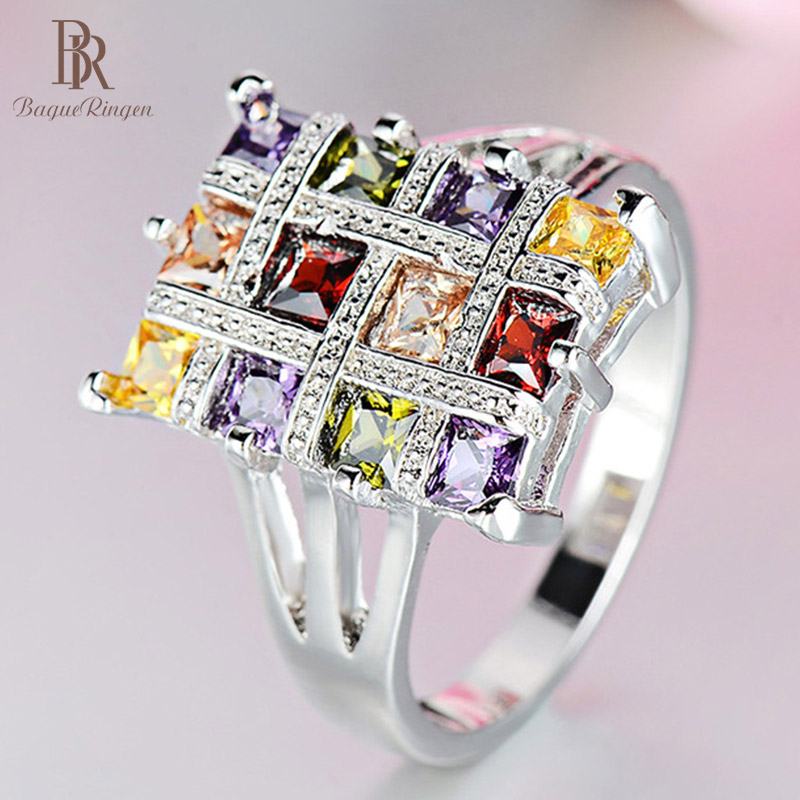 Bague Ringen Geometry Design Silver 925 Jewelry Party Rings For Women Colorful Gemstones Rectangle Female Accessory Size6-10
