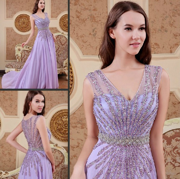 Custom Real Sample A Line V-neck Crystal Beading Sexy Woman Evening Gown Lebanon 2018 Free Shipping Mother Of The Bride Dresses