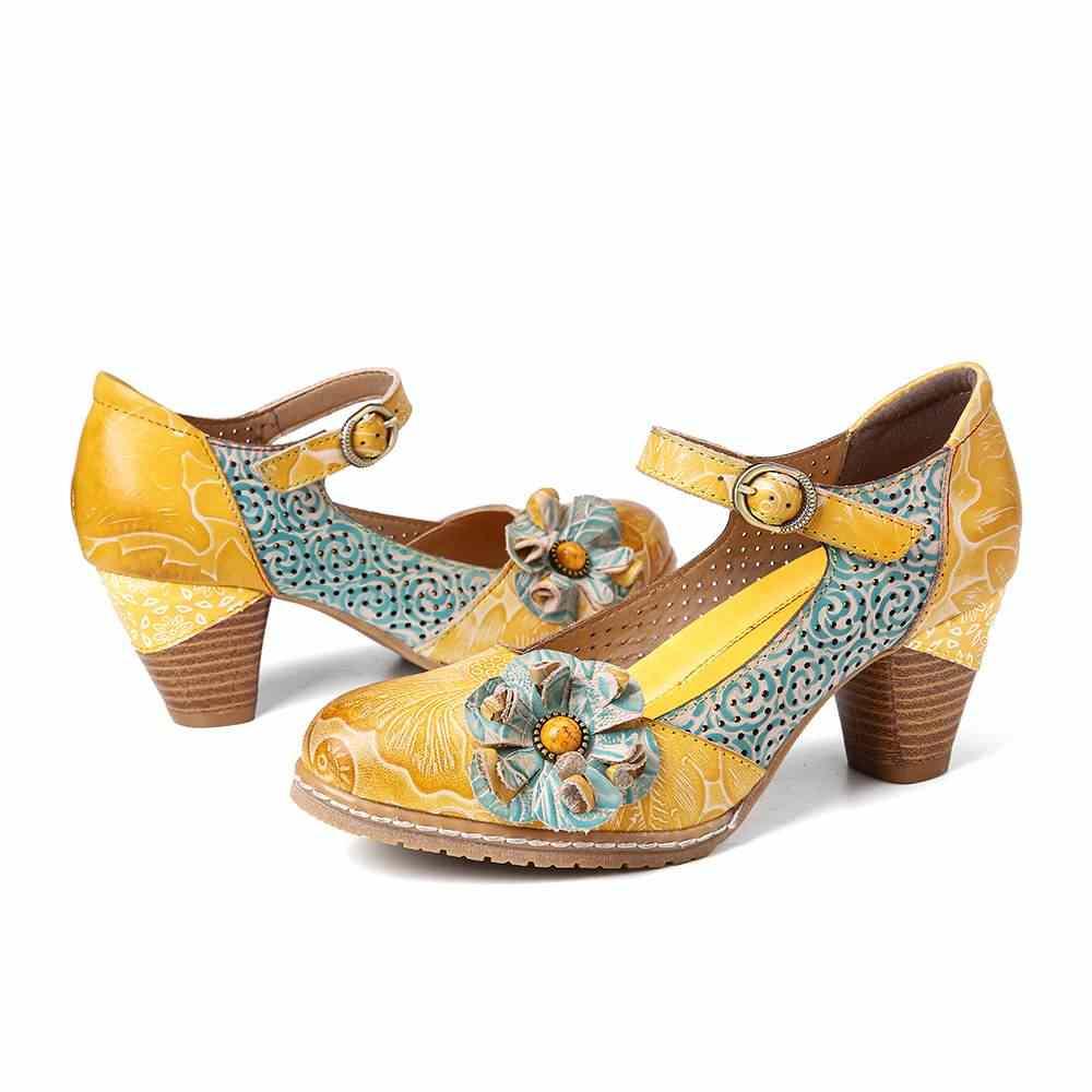 Socofy Hoa Móc Khóa Da Dây Đeo Mắt Cá Chân Chunky Gót Bơm Mary Jane Đầm Giày Nữ Giày Cao Gót Botas Mujer 2019