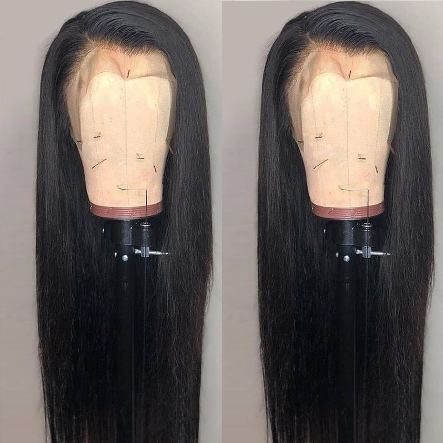 Side Part Lace Front Wigs Long Straight Synthetic Wigs Natural Density Black Straight Wig Heat Resistant Fiber Hair Wigs