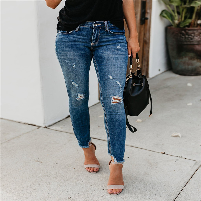 2020 Spring New High Street Elasticity Skinny Jeans Women Fashion Hollow Out Hole Bleached Vintage Push Up Denim Pants Femme