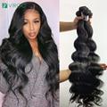 30 инч объёмная волна пряди бразильских человеческих волос пряди для черный Для женщин 1/3/4 Bundels сделка глубокая волна пряди Волосы Remy удлинит...