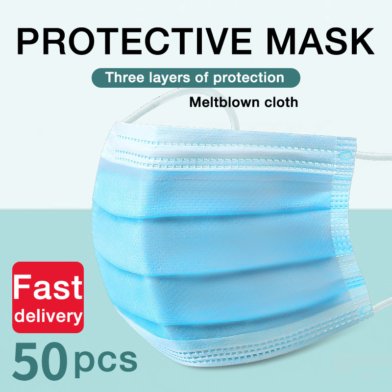 50pcs Disposable 3 Layer Non-woven Face Masks Elastic Earloops Soft Safe Breathable Mouth Masks Adult Anti-Dust Blue Mouth Masks