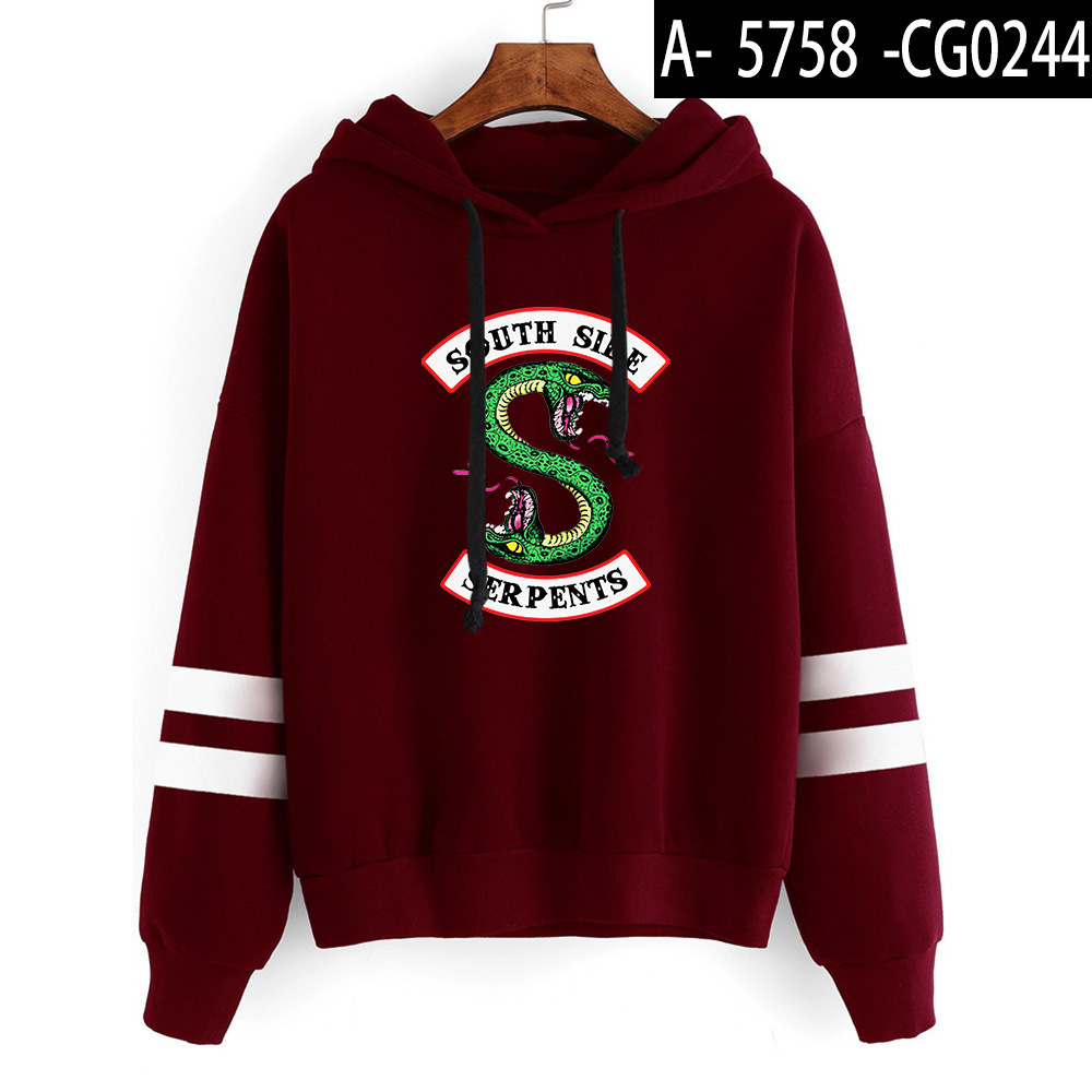 Riverdale Southside Serpents Hoodies Sweatshirts MenS Women South Side Serpents Hoodie Long Sleeve Striped Pullover Top Oversize 14