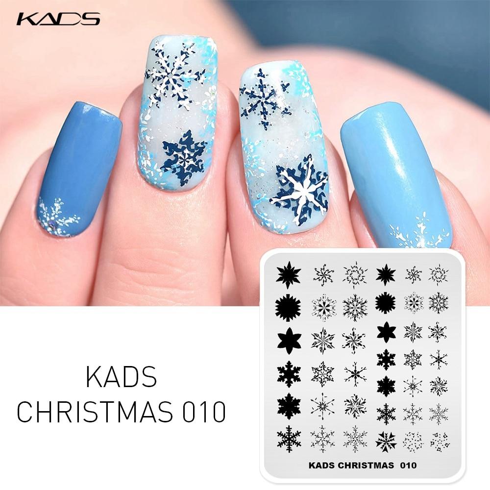 KADS 14 Design Christmas Nail Stamping Plates Snowflake Elk Image Nail Plates Art Stamp Template Stencils Stamp For Printing