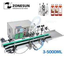 ZONESUN полный автоматический, настольный Разливочный станок с ЧПУ с конвейером 110 V-220 V для разливочная машина для парфюмерии наполнитель бутылок