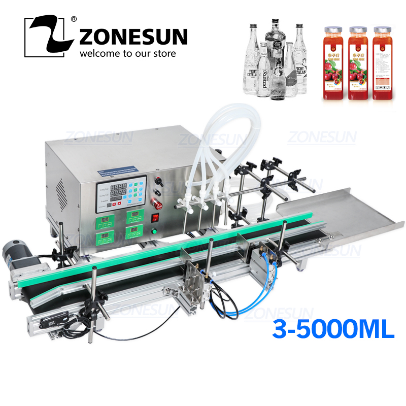 ZONESUN Full Automatic Desktop CNC Liquid Filling Machine With Conveyor Alcohol For Perfume Filling Machine Water Filler