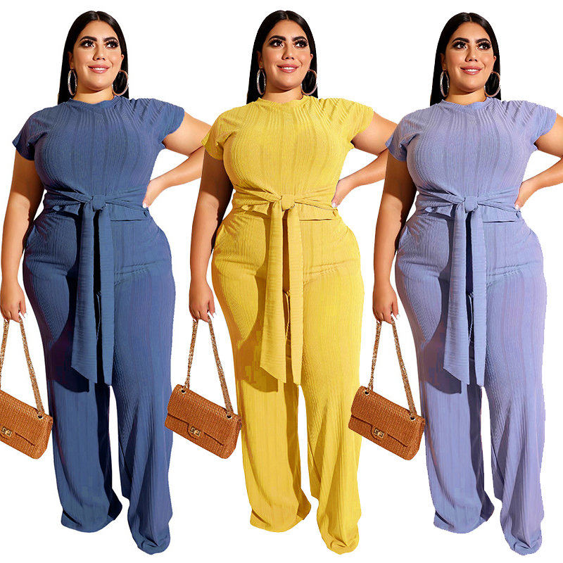 Plus Size Women Clothing Two Piece Set 5xl Fashion Round Collar Short Sleeves Bandage Tops Pant Suits Wholesale Dropshipping