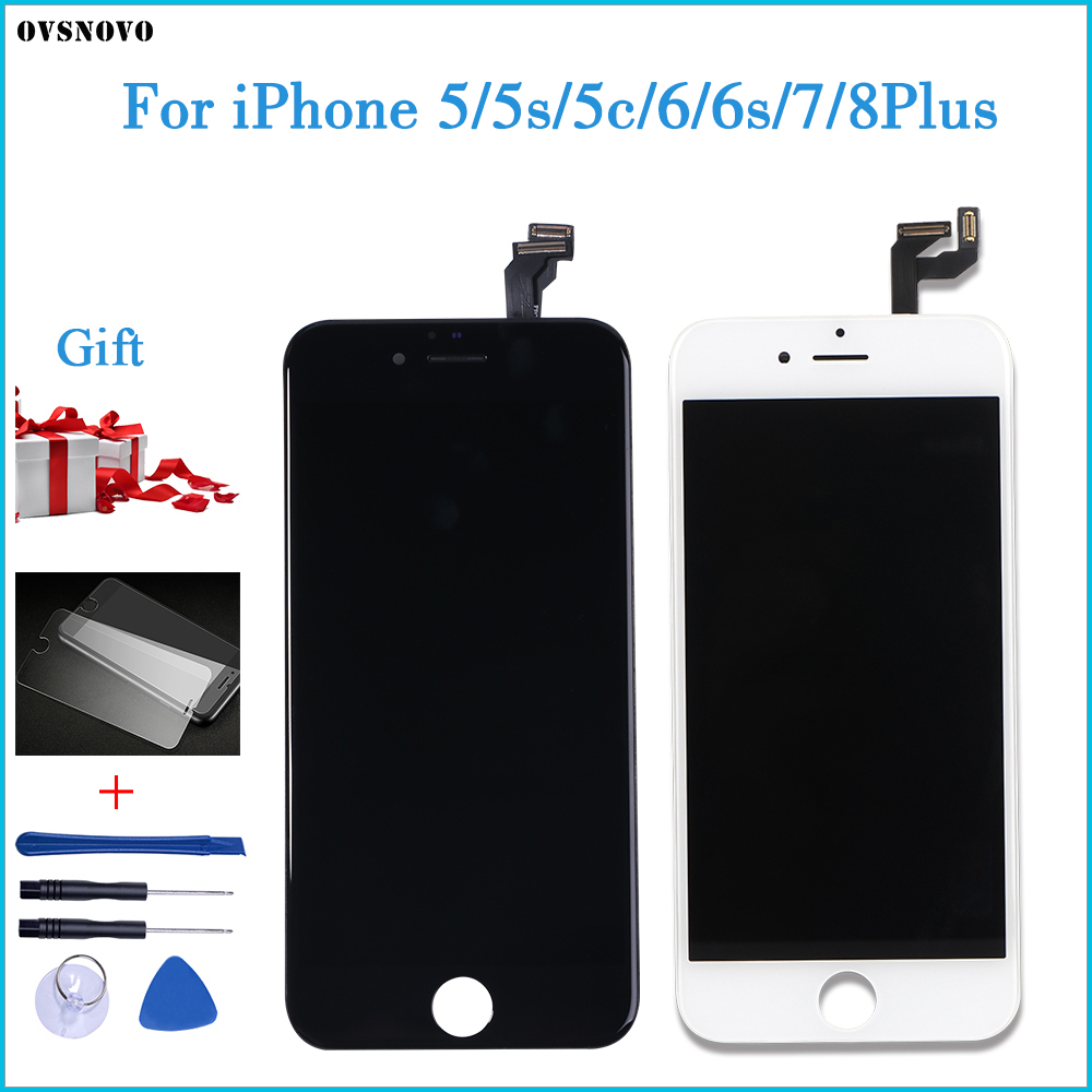 AAA+++ Quality For iPhone 5 5s 6 6s 7 LCD Display Touch Screen For 4 4S 8 Plus SE 100% Brand New LCD Digitizer tempered+Gifts(China)