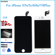 AAA+++ Quality For iPhone 5 5s 6 6s 7 LCD Display Touch Screen For 4 4S 8 Plus SE 100% Brand New LCD Digitizer tempered+Gifts