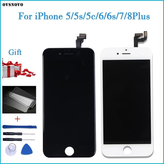 AAA + + + איכות עבור iPhone 5 5S 6 6s 7 LCD תצוגת מסך מגע עבור 4 4S 8 בתוספת SE 100% חדש לגמרי LCD Digitizer מזג + מתנות