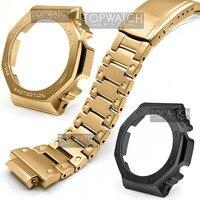 GA2100-Conjunto de reloj de plata y oro, pulsera de reloj con bisel, 100%, Metal, 316L, funda con correa de acero inoxidable