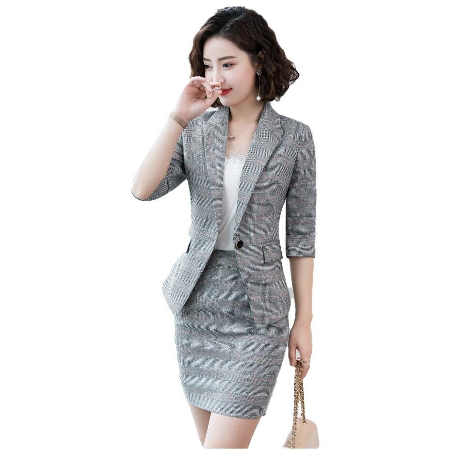 2020 Gray Plaid Skirt Suit Set Uniform Female Elegant Formal Office Lady Jacket And Long Blazer Set Women OL 2 Two Pieces Suits