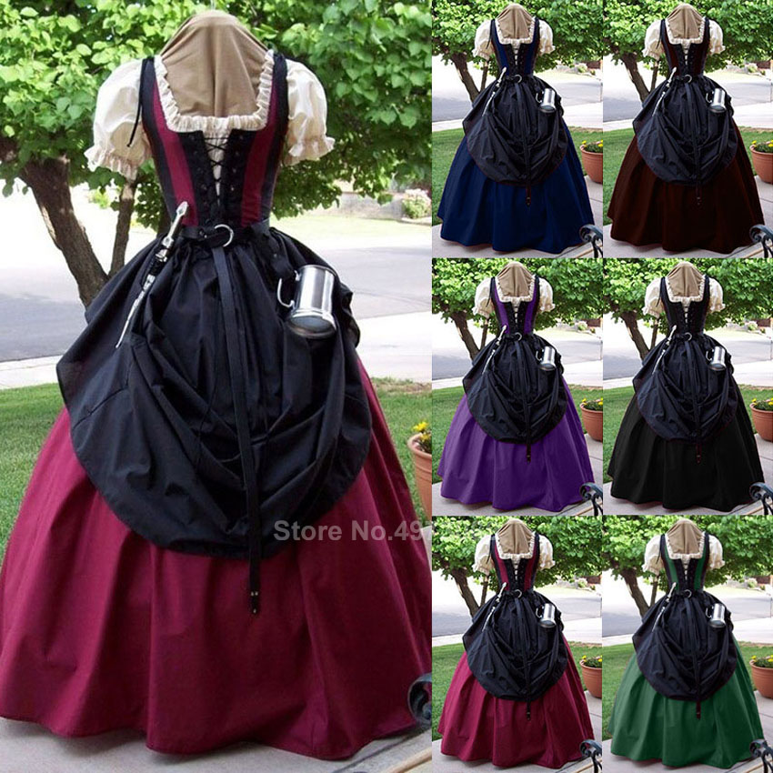 Renaissance Victorian Palace Dress Women Princess Cosplay Long Robe Halloween Dreeses Vintage Carnival Party Medieval Costume