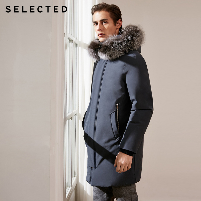 SELECTED New Long   Down   Jacket Men Fox Fur Hooded False in Two Male   Down     Coat   Warm Clothes S   418412510