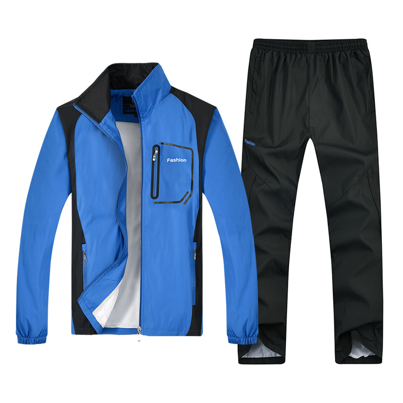 T313 Middle-aged Sports Clothing Set Men's Spring And Autumn Casual Sports Clothes Daddy Clothes Thin Hoodie Two-Piece Set