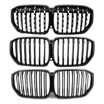 2pcs car racing grille for hyundai solaris 2 grill 2016 2018 emblems abs radiator sliver chrome front bumper upper replacement For BMW X5 G05 2018-2020 Car styling Middle grille ABS plastic front bumper grill Auto Silver Black Center Grille vertical bar