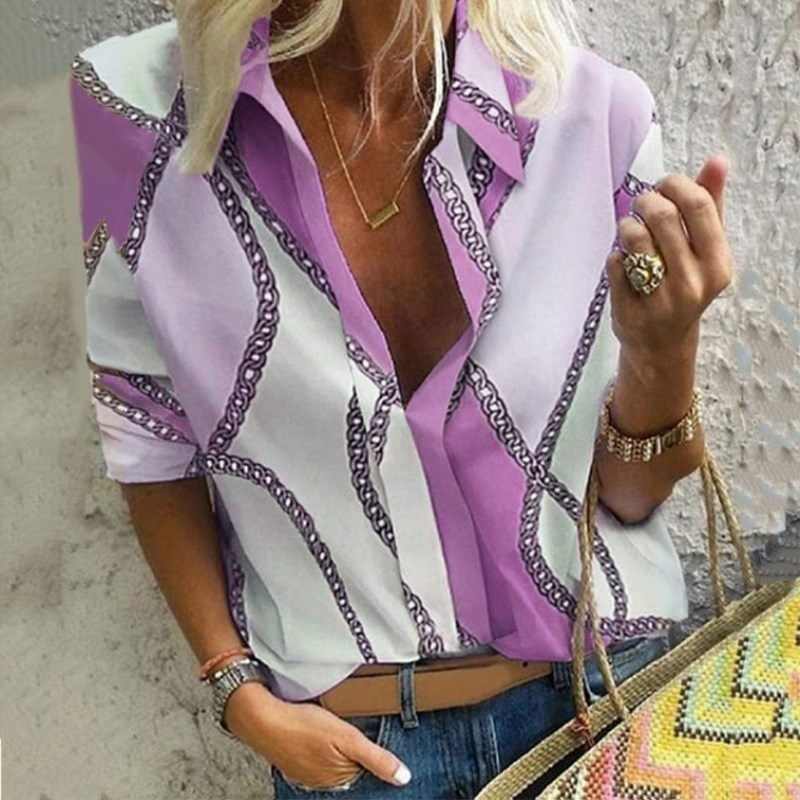 Chain Print Blouse Shirt Women 5XL Fashion Woman Blouses 2020 Long Sleeve Vintage Shirt Womens Tops and Blouse Plus Size Top